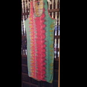 Tie-dye Look Sleeveless Beach Dress